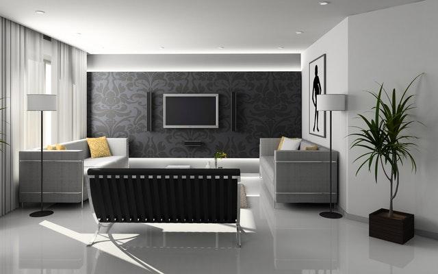 Moderne zariadený byt s veľkými presklenými balkónovými dverami.jpg